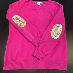 Banana Republic. Pink sweater sparkle patch elbow.